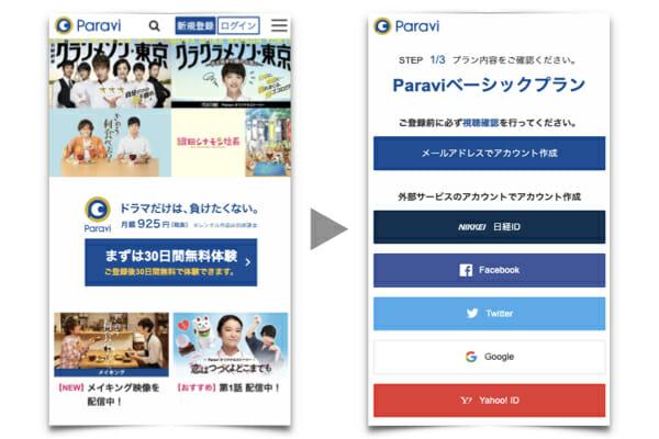 paravi登録の手順